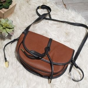 London Fog brown & tan pebbled leather saddle bag
